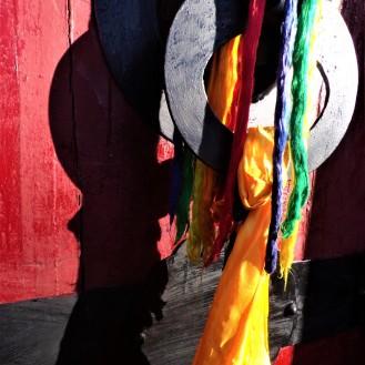 Khata scarves on a door knocker
