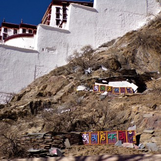 Om Mani Padme Hum on the side of Potala