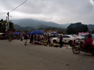 Vendors on the sides of the street